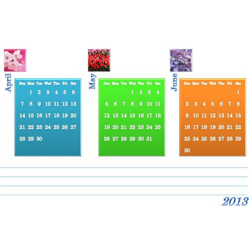 年間カレンダー(A4×3ページ)(A4・ヨコ)