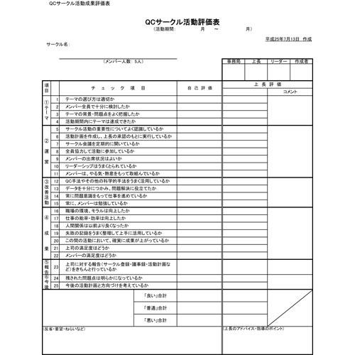QCサークル活動評価表(A4・タテ)
