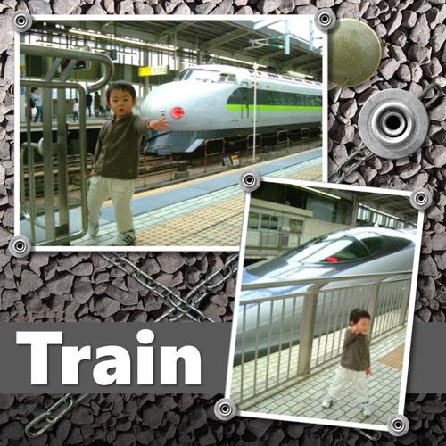 フォトスクラップ(電車)(200×200MM・ヨコ)